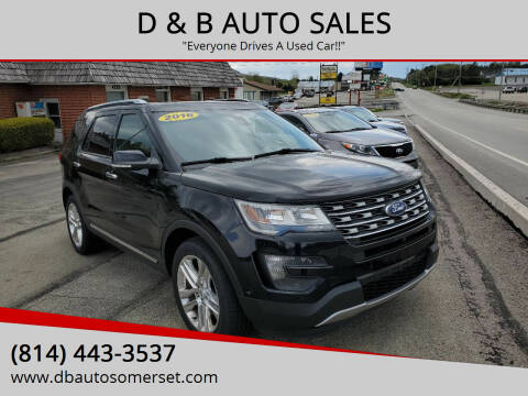 2016 Ford Explorer for sale at D & B AUTO SALES in Somerset PA
