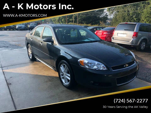 2013 Chevrolet Impala for sale at A - K Motors Inc. in Vandergrift PA