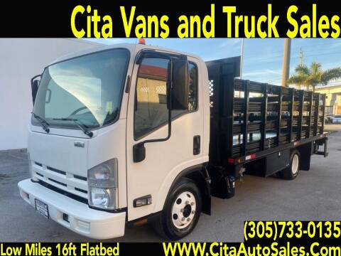 2014 ISUZU NPR DIESEL LOW MILES 16 FT STAKEBED  FLATBED TRUCK for sale at Cita Auto Sales in Medley FL