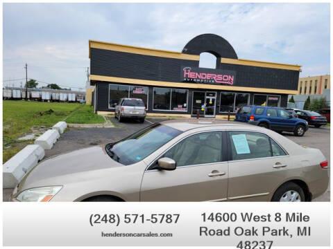 2004 Honda Accord for sale at Henderson Automotive, LLC in Oak Park MI