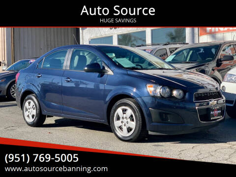 2015 Chevrolet Sonic for sale at Auto Source in Banning CA