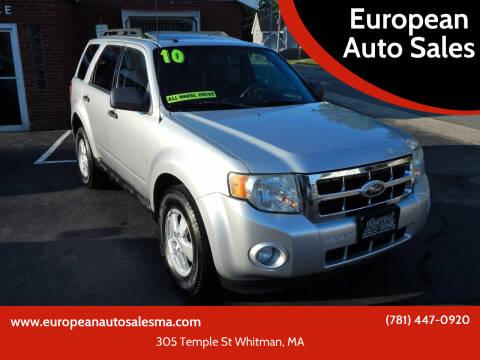 2010 Ford Escape for sale at European Auto Sales in Whitman MA