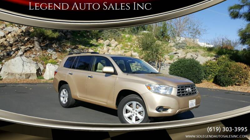 2008 Toyota Highlander for sale at Legend Auto Sales Inc in Lemon Grove CA