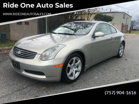 2004 Infiniti G35 for sale at Ride One Auto Sales in Norfolk VA
