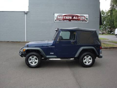 2002 Jeep Wrangler for sale at Motion Autos in Longview WA