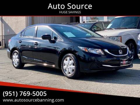 2015 Honda Civic for sale at Auto Source in Banning CA