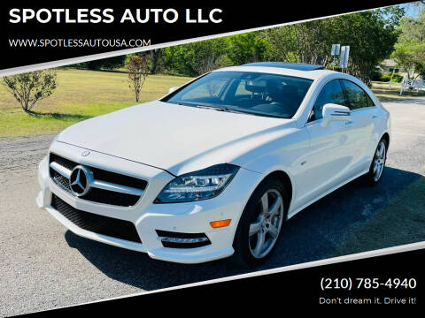 2012 Mercedes-Benz CLS for sale at SPOTLESS AUTO LLC in San Antonio TX