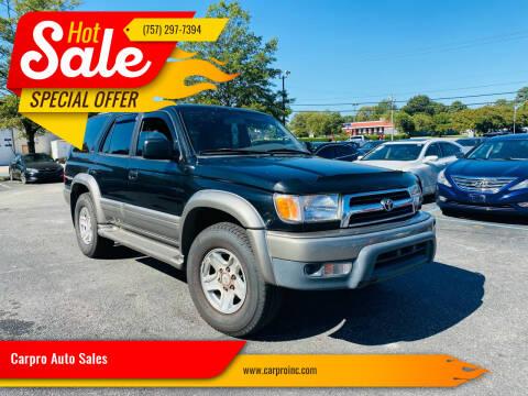 2000 Toyota 4Runner for sale at Carpro Auto Sales in Chesapeake VA