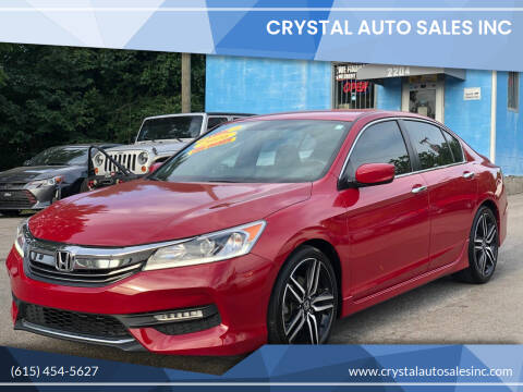 2016 Honda Accord for sale at Crystal Auto Sales Inc in Nashville TN