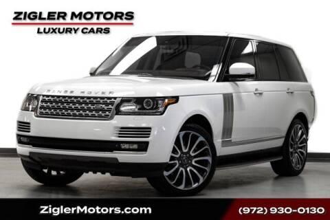 2015 Land Rover Range Rover for sale at Zigler Motors in Addison TX