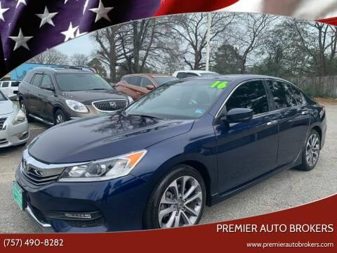 2016 Honda Accord for sale at Premier Auto Brokers in Virginia Beach VA