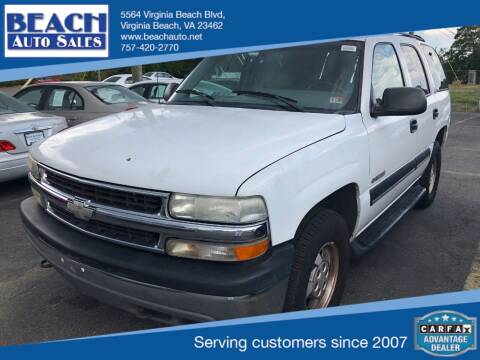 2001 Chevrolet Tahoe for sale at Beach Auto Sales in Virginia Beach VA