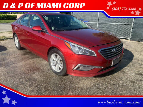 2015 Hyundai Sonata for sale at D & P OF MIAMI CORP in Miami FL