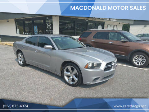 2013 Dodge Charger for sale at MacDonald Motor Sales in High Point NC