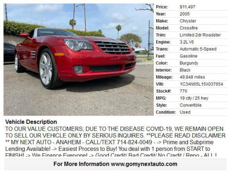 2005 Chrysler Crossfire for sale at Valley View Motors - My Next Auto in Anaheim CA
