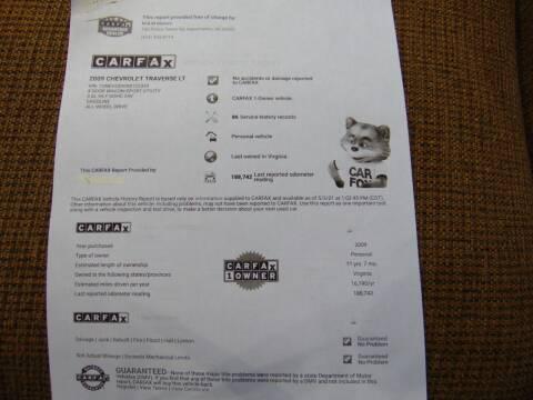 2009 Chevrolet Traverse for sale at CR Garland Auto Sales in Fredericksburg VA