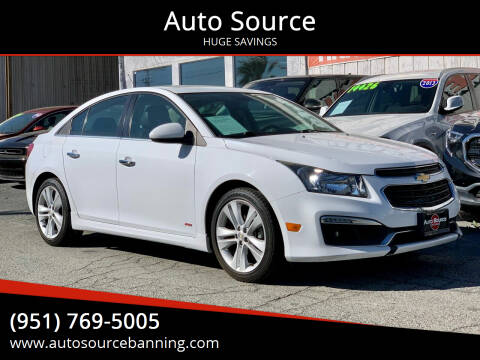 2015 Chevrolet Cruze for sale at Auto Source in Banning CA