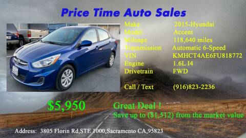 2015 Hyundai Accent for sale at PRICE TIME AUTO SALES in Sacramento CA
