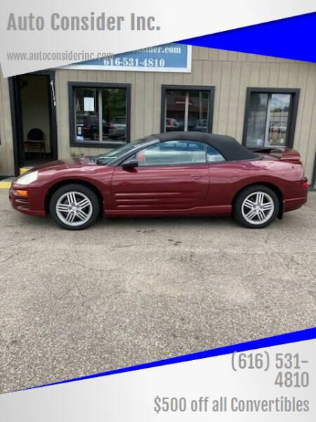 2005 Mitsubishi Eclipse Spyder for sale at Auto Consider Inc. in Grand Rapids MI