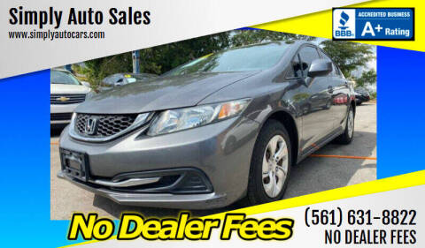2013 Honda Civic for sale at Simply Auto Sales in Palm Beach Gardens FL