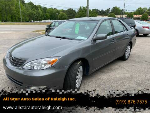 2002 Toyota Camry for sale at All Star Auto Sales of Raleigh Inc. in Raleigh NC