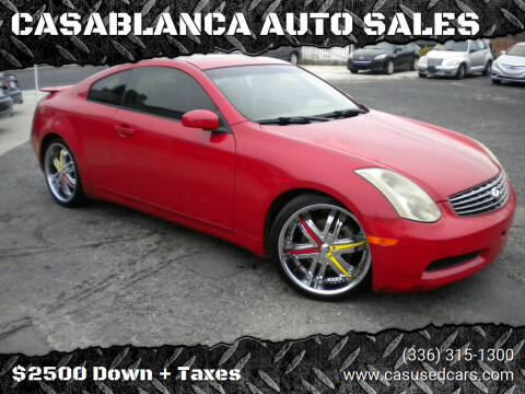 2005 Infiniti G35 for sale at CASABLANCA AUTO SALES in Greensboro NC