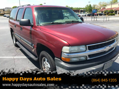 2003 Chevrolet Suburban for sale at Happy Days Auto Sales in Piedmont SC