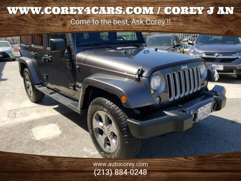 2017 Jeep Wrangler Unlimited for sale at WWW.COREY4CARS.COM / COREY J AN in Los Angeles CA