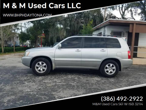 2002 Toyota Highlander for sale at M & M Used Cars LLC in Daytona Beach FL