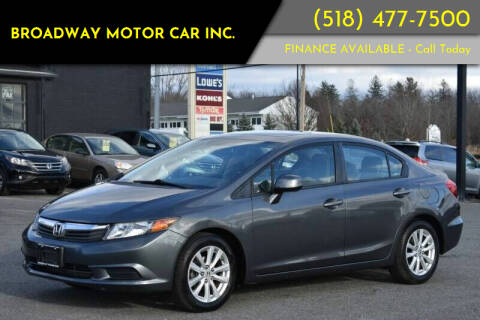 2012 Honda Civic for sale at Broadway Motor Car Inc. in Rensselaer NY