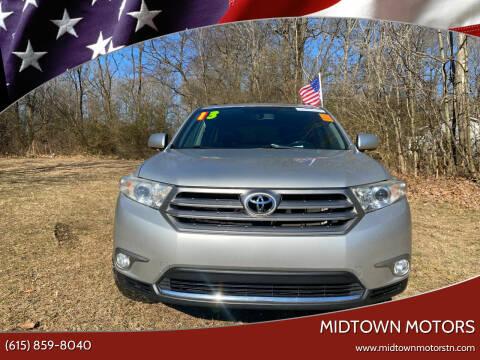 2013 Toyota Highlander for sale at Midtown Motors in Greenbrier TN