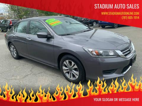 2013 Honda Accord for sale at Stadium Auto Sales in Everett MA