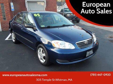 2005 Toyota Corolla for sale at European Auto Sales in Whitman MA