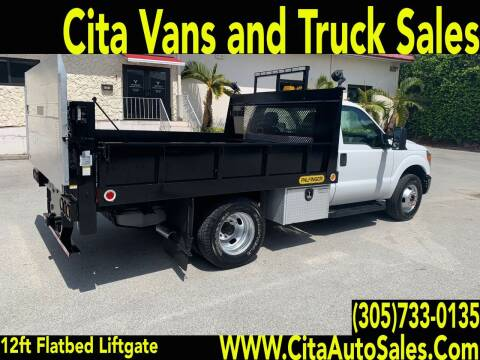 2015 FORD  F350 SD DRW 12 ft* FLATBED*LIFTGATE for sale at Cita Auto Sales in Medley FL
