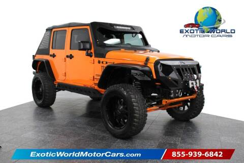 2013 Jeep Wrangler Unlimited for sale at Exotic World Motor Cars in Addison TX