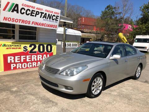 2003 Lexus ES 300 for sale at Acceptance Auto Sales Douglasville in Douglasville GA
