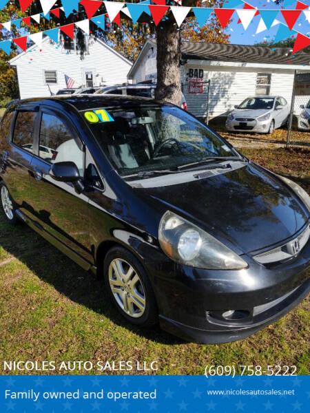 2007 Honda Fit for sale at NICOLES AUTO SALES LLC in Cream Ridge NJ
