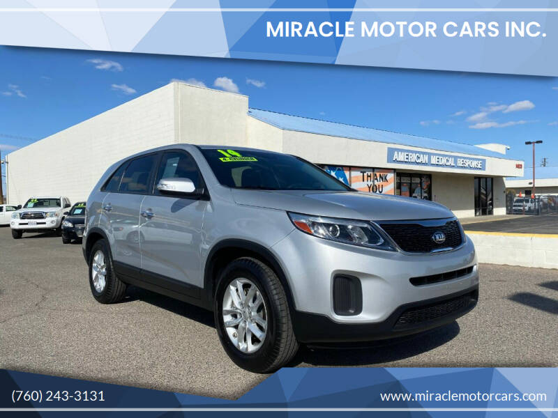 2014 Kia Sorento for sale at Miracle Motor Cars Inc. in Victorville CA