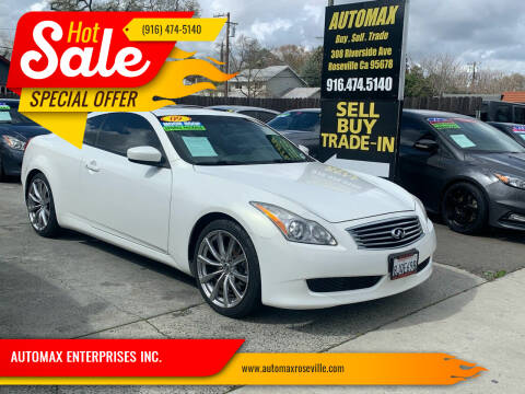 2009 Infiniti G37 Coupe for sale at AUTOMAX ENTERPRISES INC. in Roseville CA