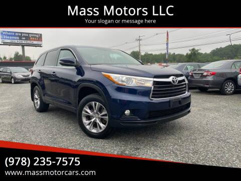2015 Toyota Highlander for sale at Mass Motors LLC in Worcester MA