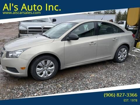 2012 Chevrolet Cruze for sale at Al's Auto Inc. in Bruce Crossing MI