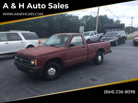 1991 Chevrolet S-10 for sale at A & H Auto Sales in Greenville SC