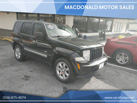 2012 Jeep Liberty for sale at MacDonald Motor Sales in High Point NC