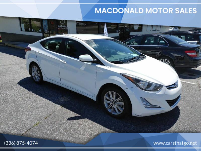 2015 Hyundai Elantra for sale at MacDonald Motor Sales in High Point NC