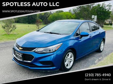 2016 Chevrolet Cruze for sale at SPOTLESS AUTO LLC in San Antonio TX