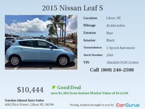 2015 Nissan LEAF for sale at Garden Island Auto Sales in Lihue HI