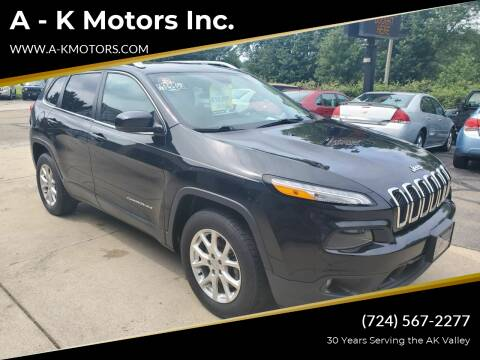2016 Jeep Cherokee for sale at A - K Motors Inc. in Vandergrift PA