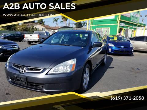 2005 Honda Accord for sale at A2B AUTO SALES in Chula Vista CA