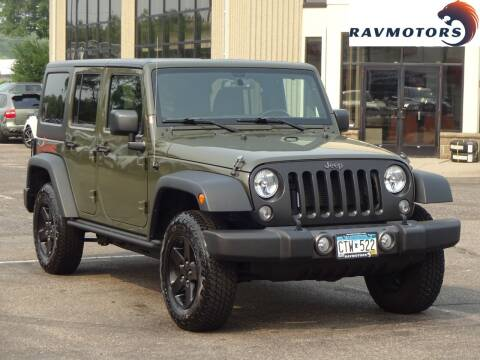 2016 Jeep Wrangler Unlimited for sale at RAVMOTORS 2 in Crystal MN