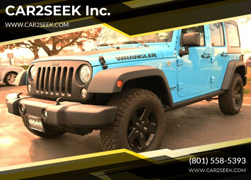 2017 Jeep Wrangler Unlimited for sale at CAR2SEEK Inc. in Salt Lake City UT